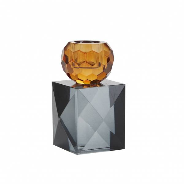 Krystall lysestake, rav/grå