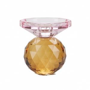 Bilde av Krystall lysestake, rosa/rav