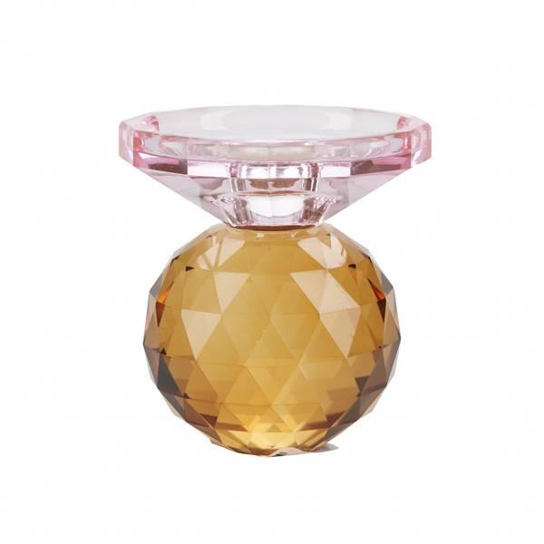 Krystall lysestake, rosa/rav